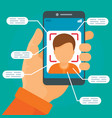 face recognition system concept background flat vector image