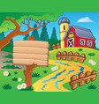 farm theme with red barn 4 vector image vector image