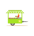 flat street food cart with fresh food vector image vector image