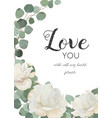 floral design card white rose powder peony vector image vector image