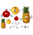 Fresh peach pineapple and pomegranate fruits vector image vector image