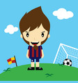 funny cartoon soccer player league art vector image vector image