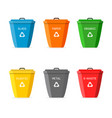 garbage bin with recycle icon set for trash big vector image vector image