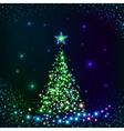 Green shining lights Christmas tree vector image