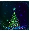 Green shining lights Christmas tree vector image vector image