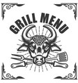 grill menu bull head on white background vector image vector image