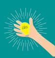 hand holding idea light bulb lamp shining line vector image vector image