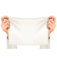 Hands holding a piece of cloth - banner vector image vector image