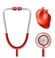 heart health and stethoscope isolated on a white vector image vector image