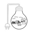 isolated light bulb and save energy design vector image vector image