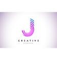 j lines warp logo design letter icon made vector image vector image