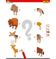 join halves of animal pictures educational game vector image vector image