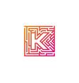 k maze letter logo icon design vector image