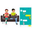 kakao talk messenger app in smartphone and laptop vector image vector image
