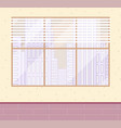large window with cityscape blinds beige wall vector image