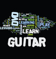 learn to play guitar dvd text background word vector image vector image