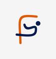 letter f people outline business logo design vector image vector image