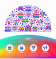 lgbt concept in half circle with thin line icons vector image vector image