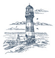 lighthouse sketch on seashore with house vector image vector image