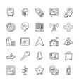 maps and navigation doodle icon set vector image