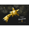Merry christmas happy new year gold star triangle vector image vector image