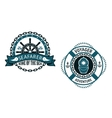 Nautical themed emblems and symbols vector image vector image