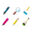 Painting icons brush tools vector image vector image