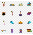 Railroad set icons vector image vector image