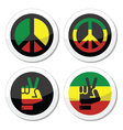 Rasta peace hand gesture icons set vector image vector image