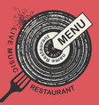 restaurant menu with vinyl record and fork vector image