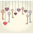 Romantic Valentine invitation card with keys vector image