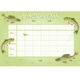 School timetable with rainbow trout and ephemera vector image vector image