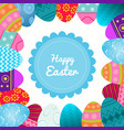 seamless border of decorative easter eggs with vector image