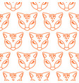seamless line style pattern with cute fox heads vector image vector image