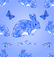 Seamless texture easter blue bunny with butterfly vector image vector image