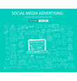 Social Media Advertising concept with Doodle vector image vector image