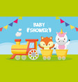 unicorn and fox train toy bashower card vector image vector image