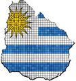 Uruguay map with flag inside vector image vector image
