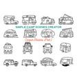 vintage hand drawn camper recreational trailers vector image vector image
