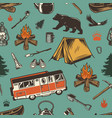 vintage outdoor recreation seamless pattern vector image