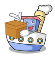 with box ship character cartoon style vector image vector image
