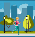woman running in park vector image vector image