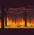 woodland eco banner fire in forest wildfire vector image