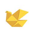 yellow pigeon bird made of paper in origami vector image vector image