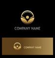 leaf beauty eco gold logo vector image