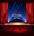 a theater stage with a red curtain and a vector image vector image