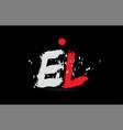 alphabet letter combination el e l with grunge vector image vector image
