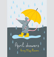 april showers bring may flowers card vector image
