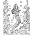 beautiful mermaid swimming under the sea for adult vector image vector image