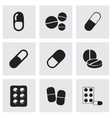 black pills icons set vector image